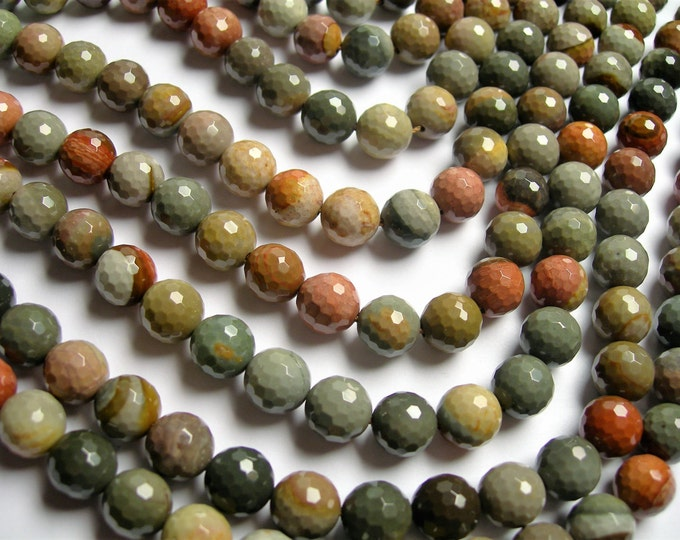 Polychrome jasper - 10 mm faceted round beads - full strand - 39 beads - AA quality - RFG1197