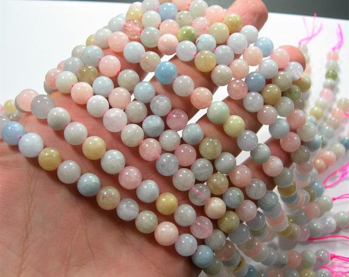 Beryl mix - Morganite - aquamarine - heliodor - 8mm round beads - 48 beads - full strand - RFG1742