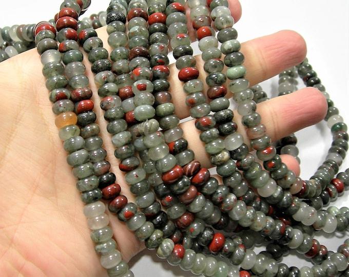 African bloodstone - 8mm rondelle beads - full strand - 79 beads - 5mmx8mm - Seftonite - RFG1726