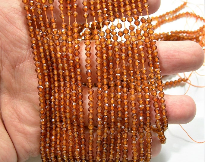 Hessonite Garnet - 3mm faceted round beads - full strand  130 beads - micro facted Hesonite garnet - A quality - PG229