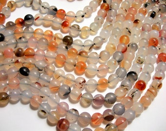 Dendritic Agate bead - 8mm  round - 1 full strand - 48 beads - AA Quality - RFG1491