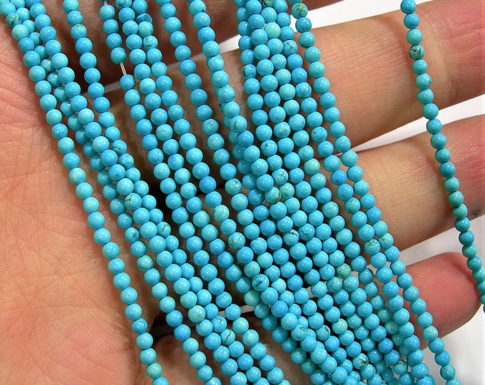 Howlite turquoise - 2mm(2.4mm) round beads -1 full strand - 167 beads - AA quality - PG242A