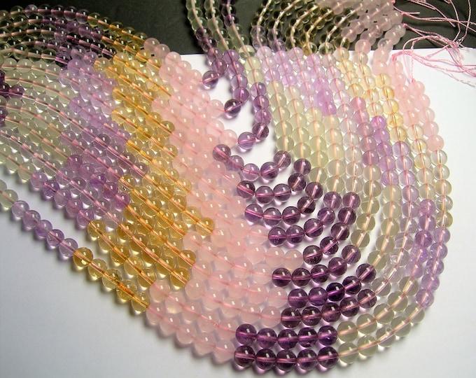 Citrine - amethyst - lemon quartz  - rose quartz - mix quartz gemstone - 8 mm round beads -  49 beads - RFG1381