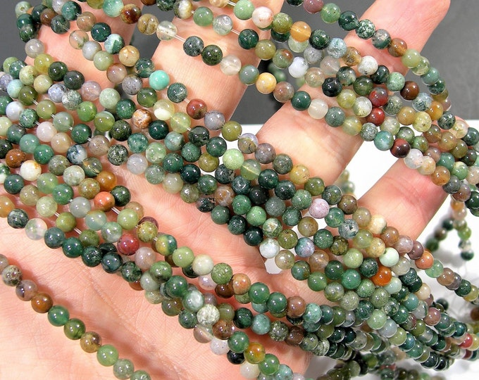 Indian agate - 4mm (4.3mm) round beads -  90 beads -  Full strand - Fancy jasper - RFG1781