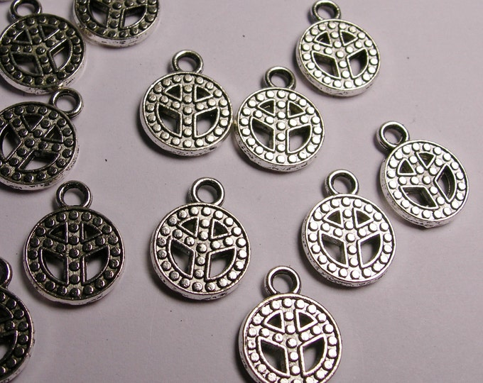 Peace charms - 24 pcs - silver color - hypoallergenic, NAZ 2