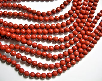 Red Jasper - 6mm ( 6.4mm) round beads - 1 full strand - 63 beads - WHOLESALE DEAL - RFG119