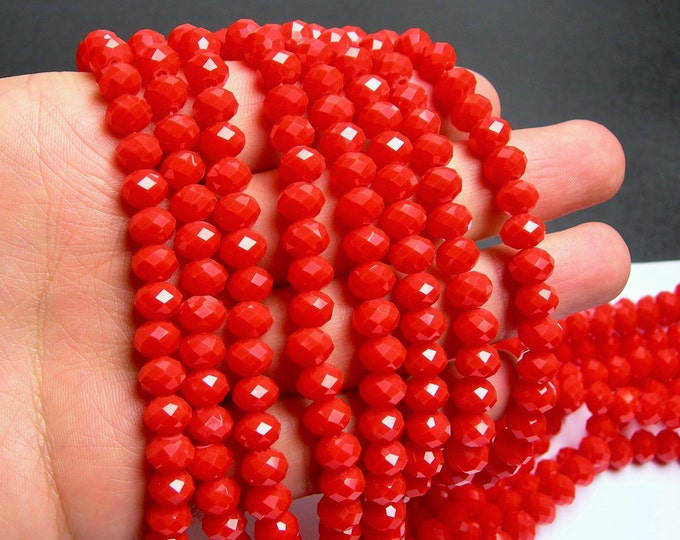 Crystal faceted rondelle - 70 pcs - 8 mm - A quality - full strand - salmon coral red - WHOLESALE DEAL - GSH44