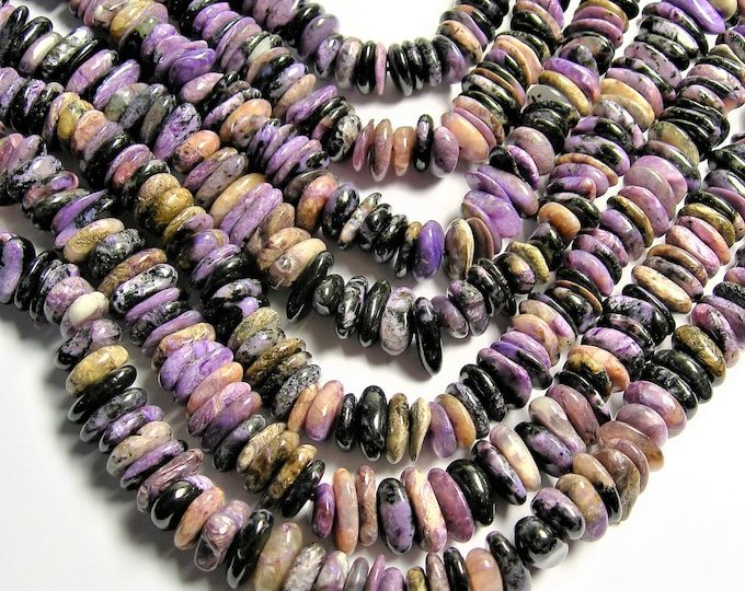 Charoite Gemstone -rounded  pebble disc -  beads  - 16 inch - Big chaorite beads - PSC382