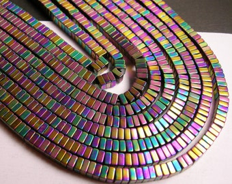 Hematite rainbow - 4x2mm heishi square slice beads - full strand - 190 beads - A quality - PHG105