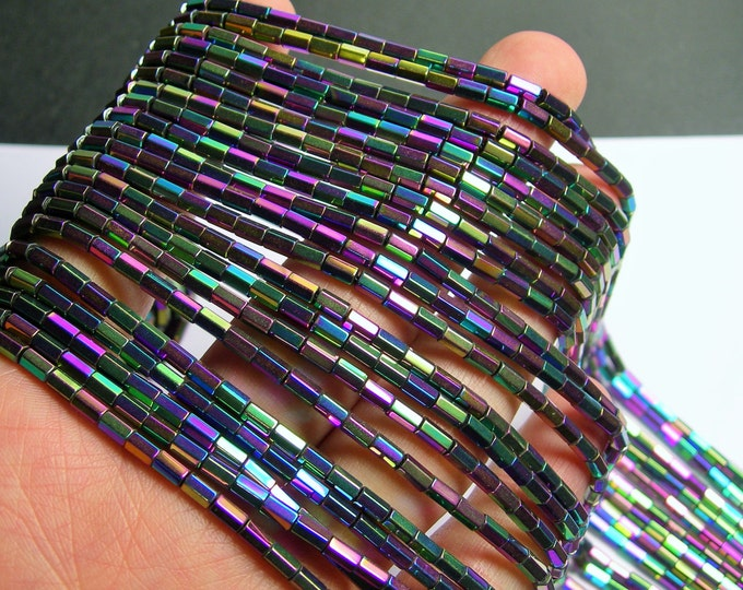 Hematite Rainbow - 5mm tube hexagon beads -  full strand - 82 beads - AA quality - mystic rainbow -  PHG240