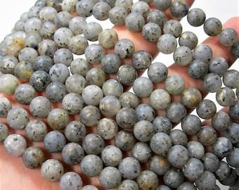 Pitaya Quartz - 8mm round beads - matte - full strand - 49 beads - Black dot quartz -  RFG1670