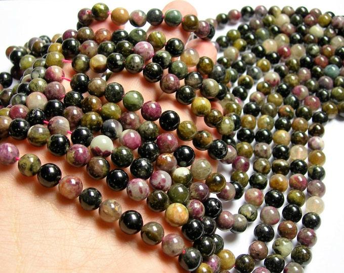 Tourmaline - 8mm round beads - full strand - 48 beads - Ab quality - multi color tourmaline - RFG1205