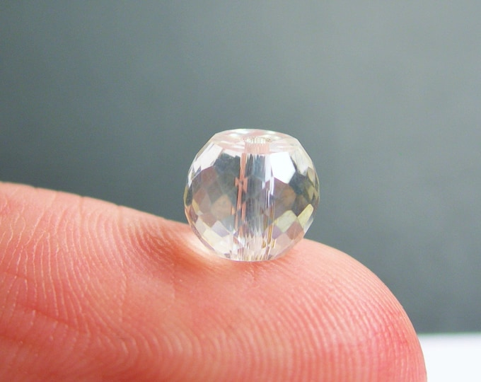 Crystal faceted rondelle barrel - 20 pcs - 8mm x 6mm - AA quality - Clear ab - BCR11