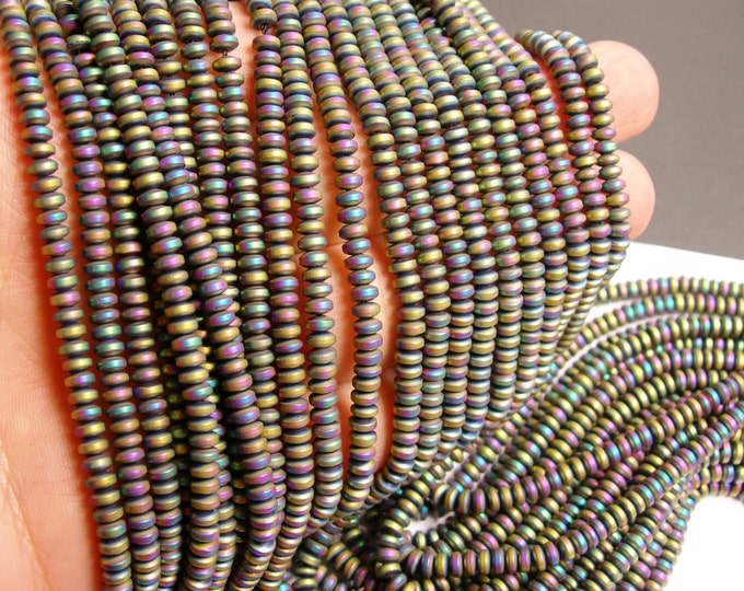 Hematite rainbow - 4mm rondelle beads - full strand - 185 beads - A quality - matte -  PHG127