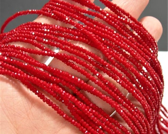 Crystal - rondelle  faceted 1mm x  2mm beads - 195 beads - Red opaque  - full strand - VSC52