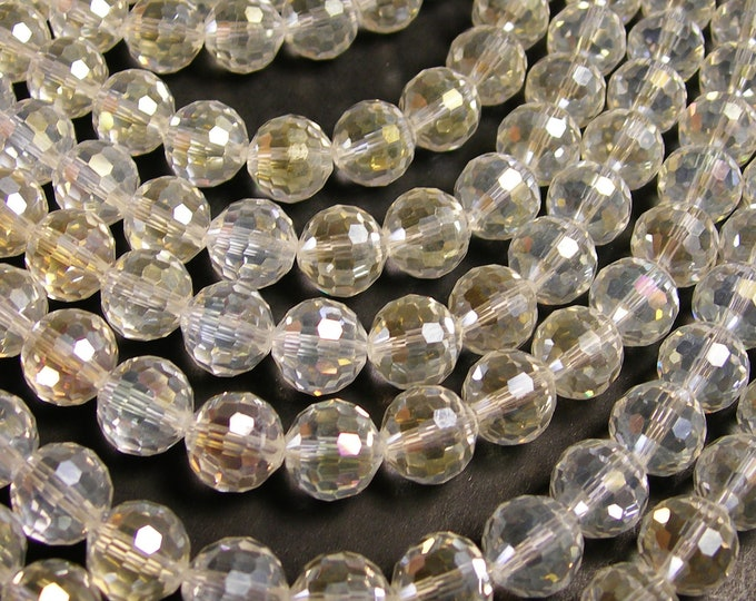 Crystal - round faceted 12mm beads - 20 pcs - AA quality - clear sparkle