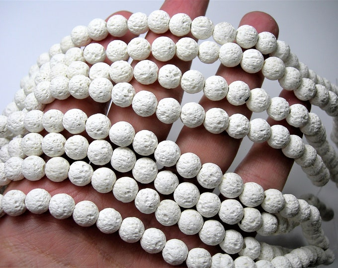 White Lava - 8mm round - 1 full strand - 49 beads - A Quality - Lava  volcanic gem - Wholesale deal - RFG1706