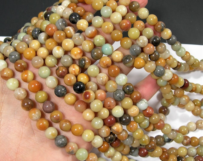 Yellow Amazonite - 8mm(8.3mm) round beads - full strand - 47 beads - yellow mix amazonite - RFG1918