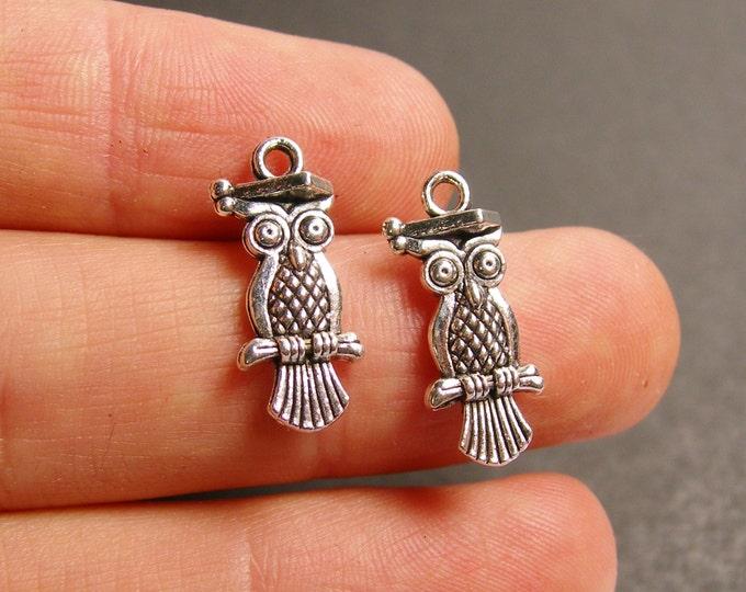 24 Owl charms - silver tone Owl charms - 24 pcs - ASA133