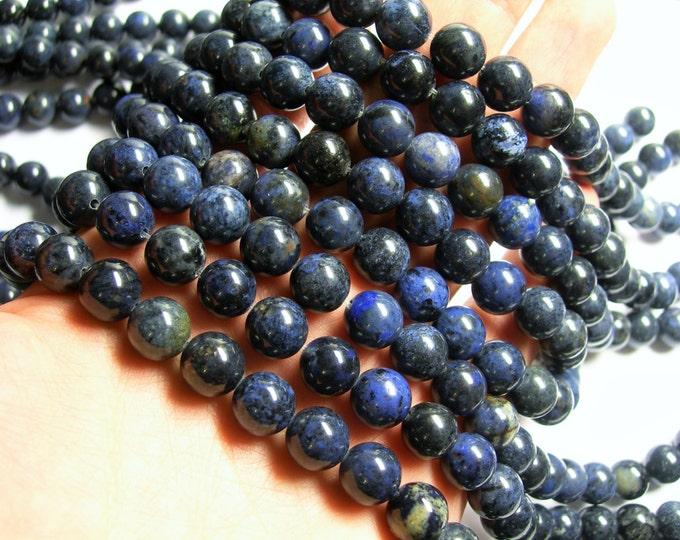 Dumortierite - 10 mm round beads -1 full strand - 39 beads - RFG294