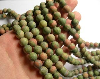 Unakite Matte - 10 mm round beads -1 full strand - 39 beads - A quality - RFG1084