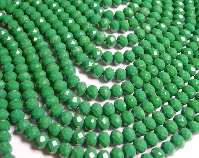 Crystal faceted rondelle - 70 pcs -  8 mm - A quality - full strand - matte - green - GSH31