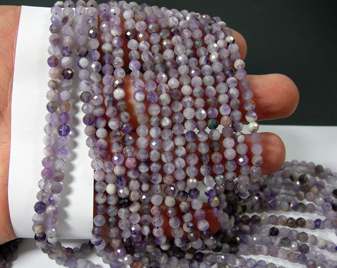 Amethyst - 4mm micro faceted round beads - full strand - 96 beads - PG356