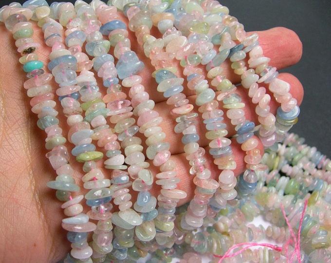 Beryl mix  - chip stone - 1 full strand - Morganite - aquamarine - heliodor  - PSC51