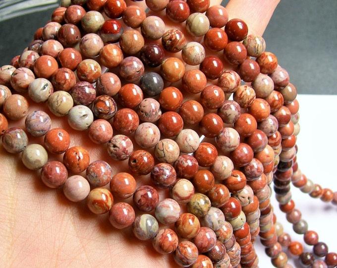 Red Porcelain Jasper - 8 mm round beads - full strand - 50 beads - RFG874