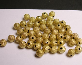 8mm gold color textured brushed  beads hypoallergenic - 50 pcs - 8mm diameter
