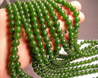 Jade - 8 mm round beads -1 full strand - 48 beads - color - dark green Jade - RFG126