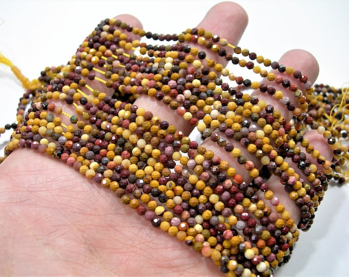 Mookaite jasper - 3mm(2.8mm) micro faceted beads -  full strand - 135 beads - PG262