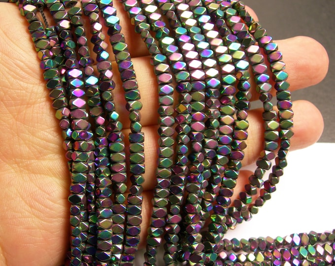 Hematite rainbow - 4.4mm faceted rectangle - full strand - 138 beads - AA quality - PHG162