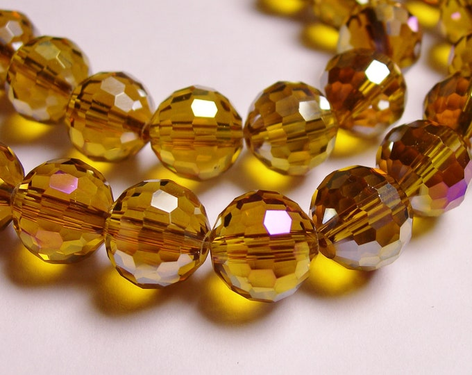 Crystal - round faceted 12mm beads - 20 pcs - AA quality - sparkle dark amber
