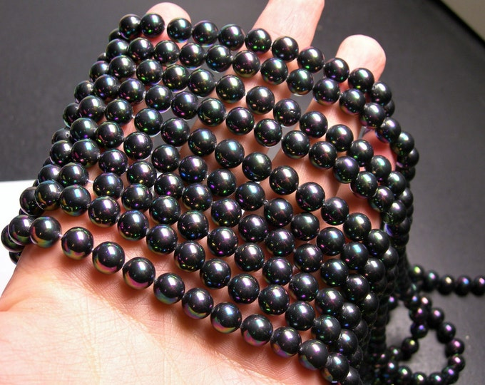 Pearl  - 8 mm round - mystic dark Pearl Ab - 1 full strand - 49 beads - SPT33 - Shell pearl