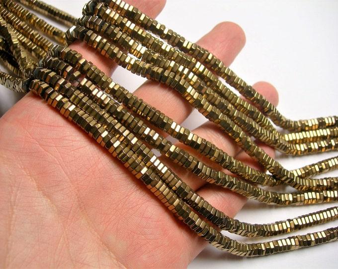 Hematite Bronze - 2mmX 5mm hexagon heishi slice  beads - full strand - 200 beads - AA quality  - PHG263