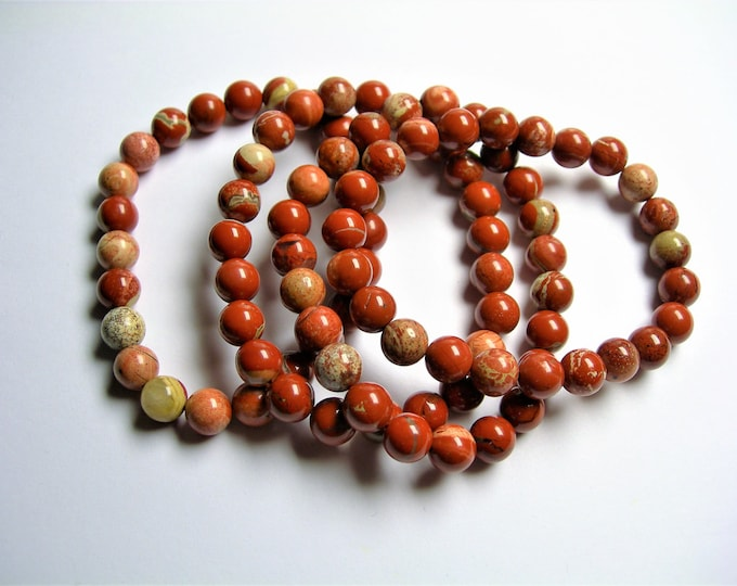 Red Jasper  - 1 set - 8mm  - 23 beads - A quality - Cappuccino Jasper - HSG29