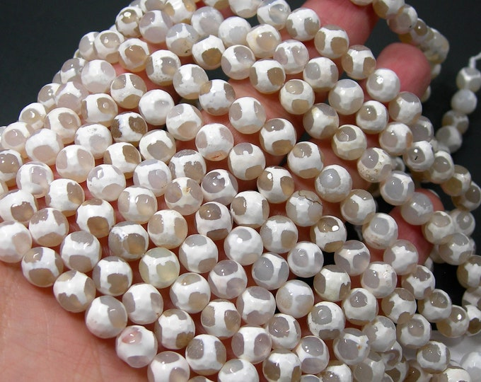 Tibetan Agate 8mm faceted round beads - full strand - 48 beads - White Dzi beads - RFG1657