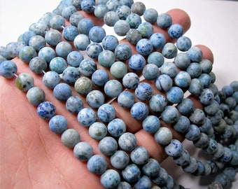 Blue Crazy Lace Agate matte - 8mm round - full strand - 48 beads - A quality - light blue crazy lace matte - RFG1639