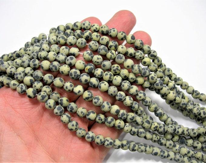 Dalmatian jasper matte - 6mm(6.5mm) - 61 beads - full strand - matte - RFG1992