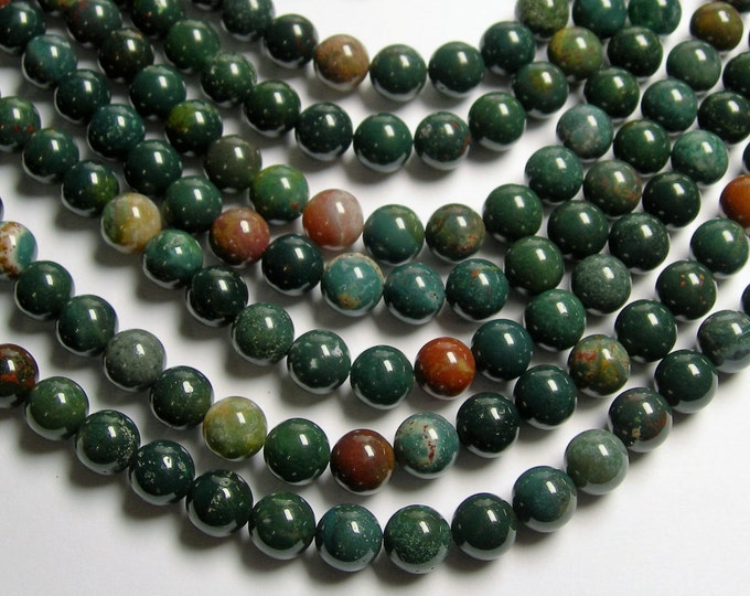 Bloodstone - 10mm round beads - 1 full strand - 40 beads - A quality - RFG920