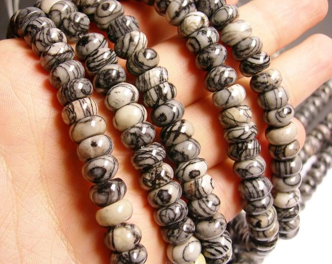 Silk Stone - 10mm rondelle bead - 70 beads - full strand - 10x6mm Spider Jasper - RFG1026