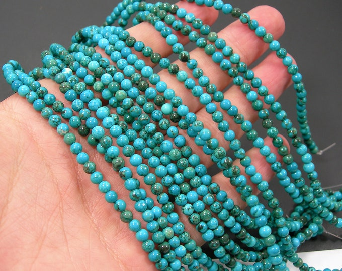 Howlite turquoise - 4mm round beads - full strand - 95 beads -  A Quality - RFG2202