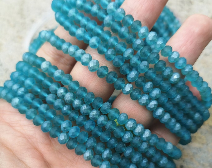 Crystal faceted rondelle - 97 pcs - 6 mm - full strand - frosted aqua - GSH87