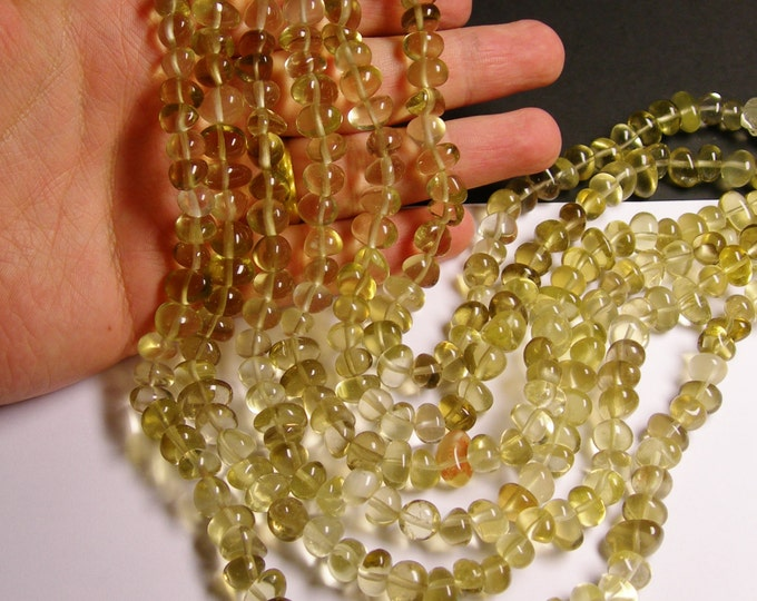 Lemon quartz - bead - 16 inch full strand - rounded nugget - pebble - A quality - NRG111