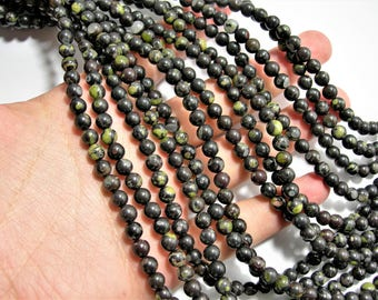 Black Rhyodacite - 6 mm round beads - full strand - 65 beads - A quality - RFG1532