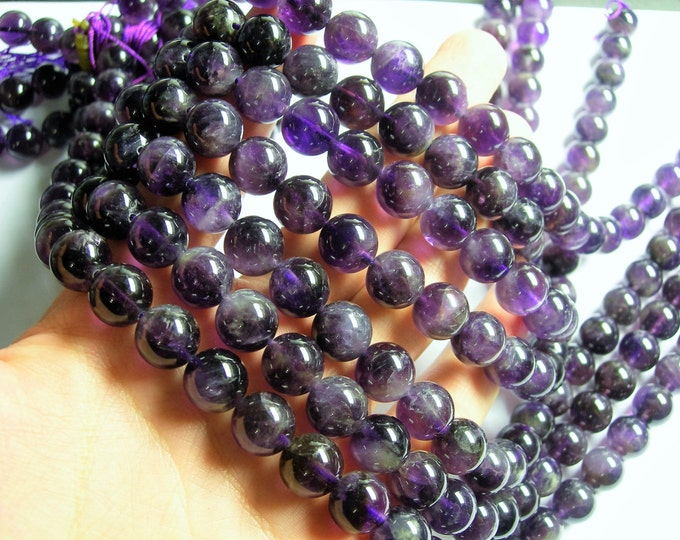 Amethyst - 12 mm  round beads -  full strand - 33 beads - RFG1082