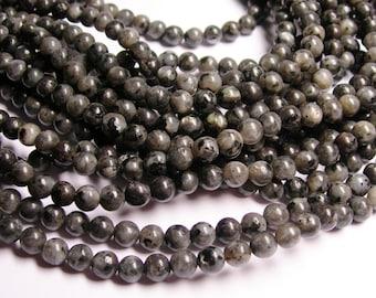 Larvikite -  black labradorite - 6mm round A Quality - full strand - 64 pcs - RFG765