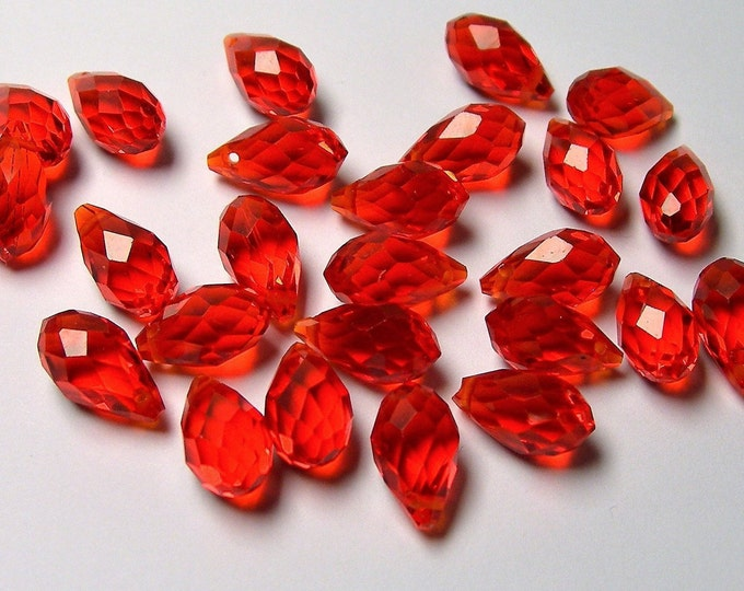 Faceted teardrop crystal briolette beads - 25 pcs - 13mm x 8mm - top sideways drill - Orange red - CRTD14