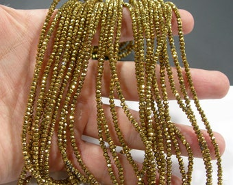 Crystal - rondelle faceted 3mm x 2mm beads - 195 beads - AA quality - Gold - CAA2G251